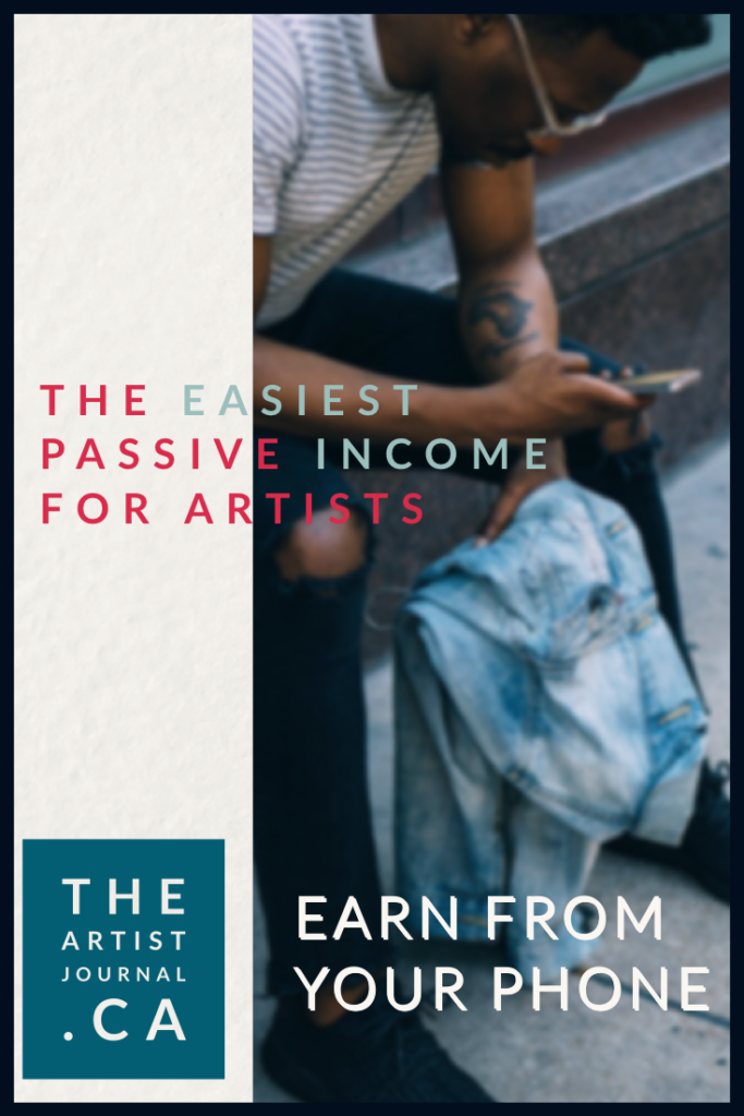 "Someone sitting on a step, using their phone in one hand and a denim jacket in the other. Text reads ""the easiest passive income for artists""."