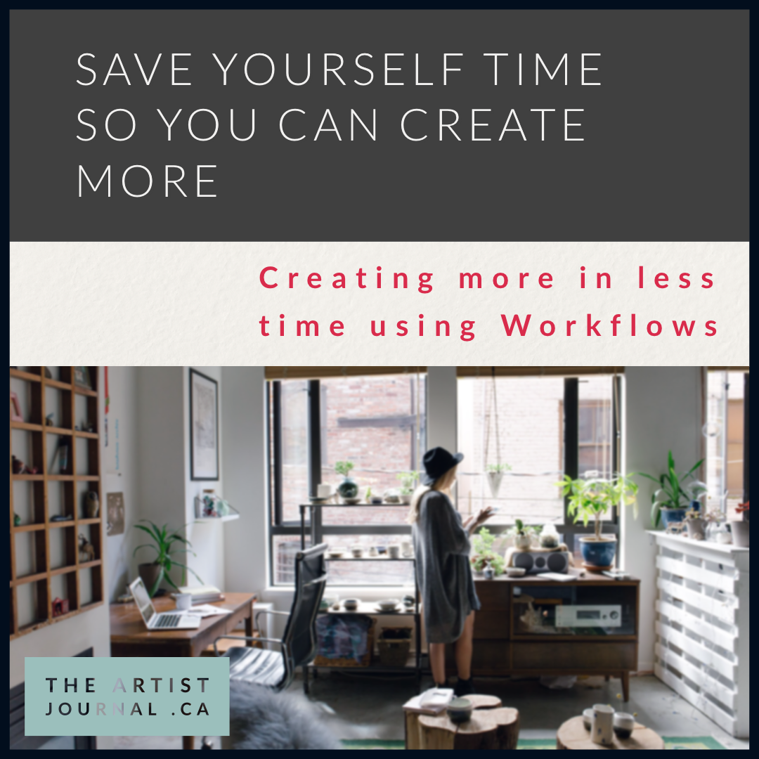 "Text ""Save yourself time so you can create more; creating more in less time using workflows"" and a picture of a person on a tablet, standing in a studio/office."
