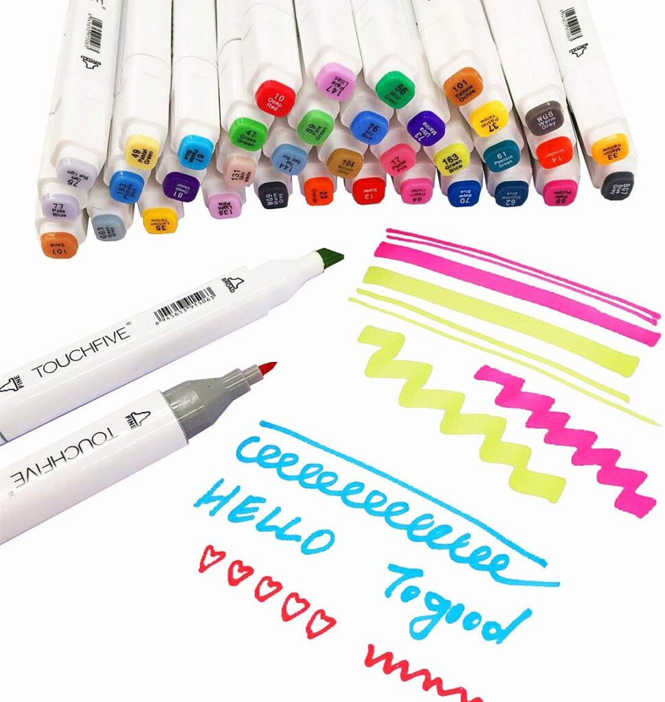 The Togood 60 Sketch Twin Markers with Dual Tips (Broad/Fine) Professional Alcohol Marker Set is a great gift for calligraphy and manga artists this Christmas!