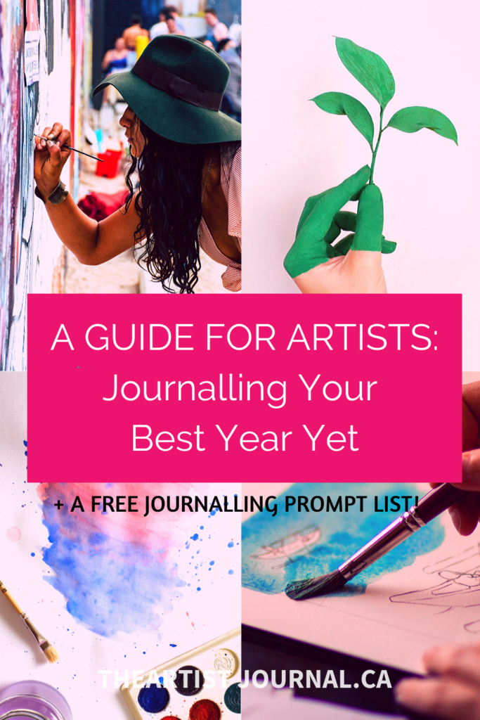 Journalling our best year yet for artist New Years' goal setting - Pinterest Graphic